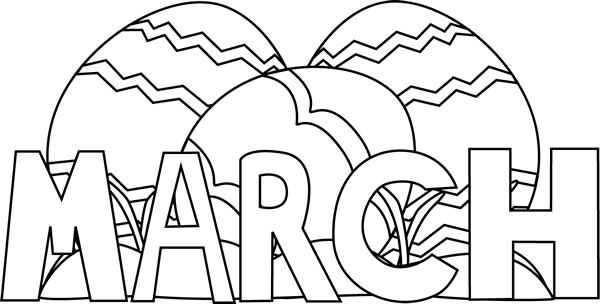 Black And White Month Of March Easter Eggs Valentine Coloring Pages Preschool Coloring Pages Summer Coloring Pages