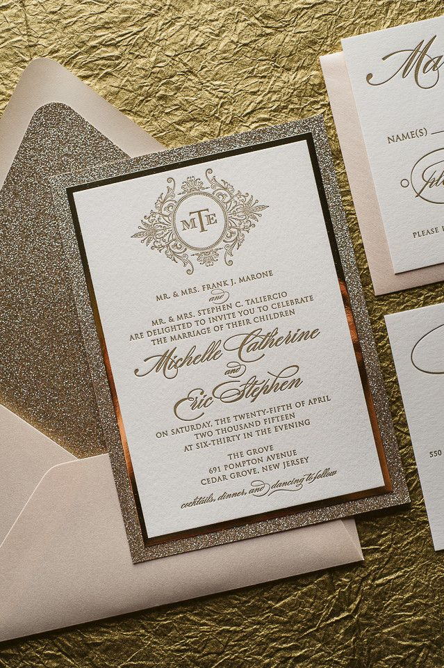 sample of wedding invitations templates%0A ABIGAIL Suite    STYLED    Fancy Glitter Package  Monogram Wedding  InvitationsGold