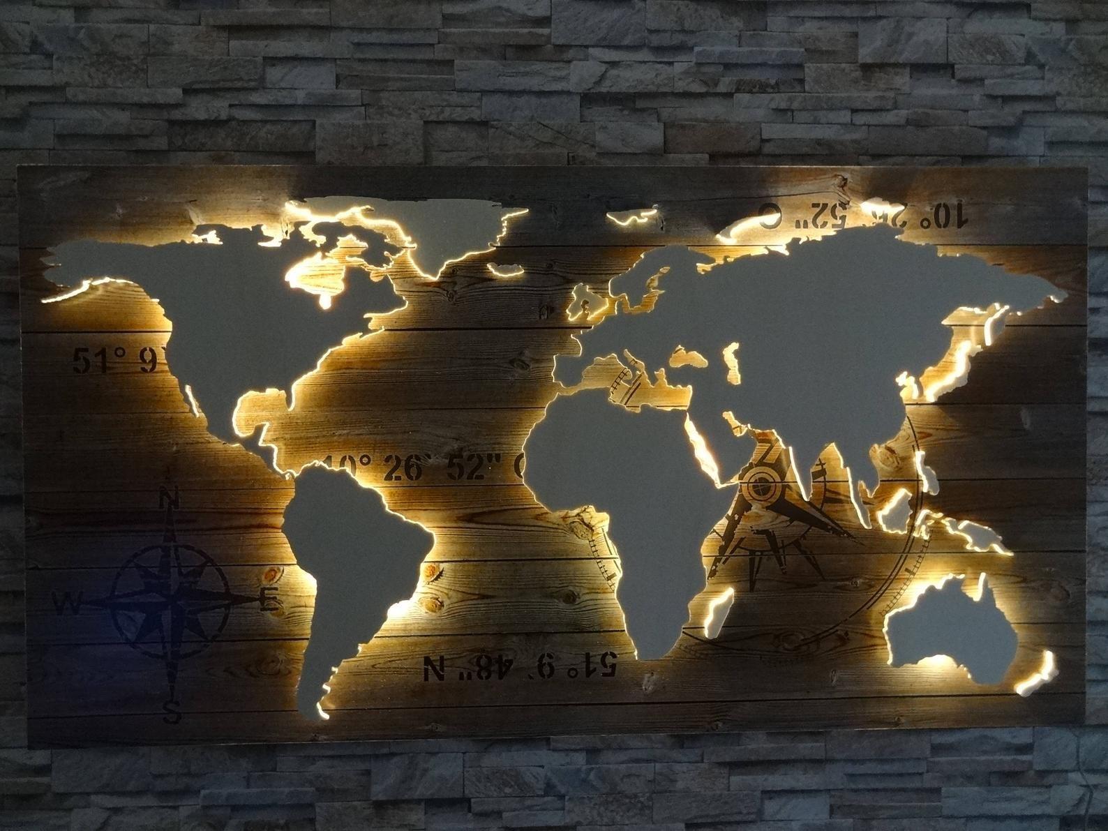 Weltkarte Aus Holz Led Beleuchtung 3d Effekt Wood World Map Map Wall Decor Led Lights