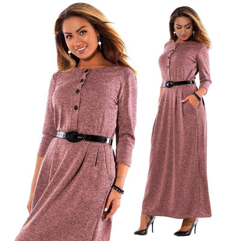 ByChicStyle Autumn Winter Dress Big Size Elegant Long Sleeve Maxi Dress  Women Office Work Dresses Plus fbd46983c