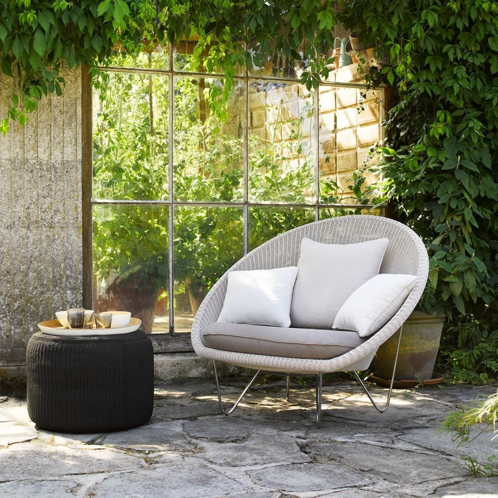 Vincent sheppard gipsy lounge chair old lace stainless steel frame with seat pad garden furniture