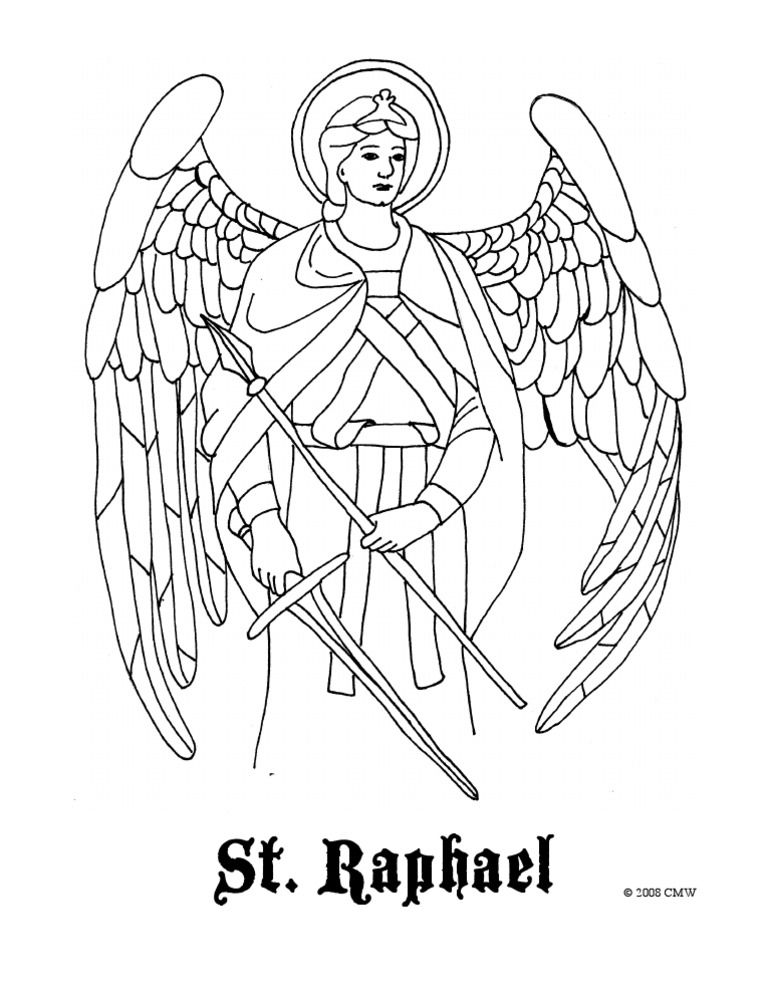 St Raphael Coloring Page C 2008 C M W All Coloring Pages Are My Own Artwork And Are Free For Any Fair Angel Coloring Pages Christian Coloring Saint Coloring