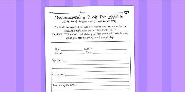 Recommend a book for matilda worksheet roald dahl for Roald dahl book review template