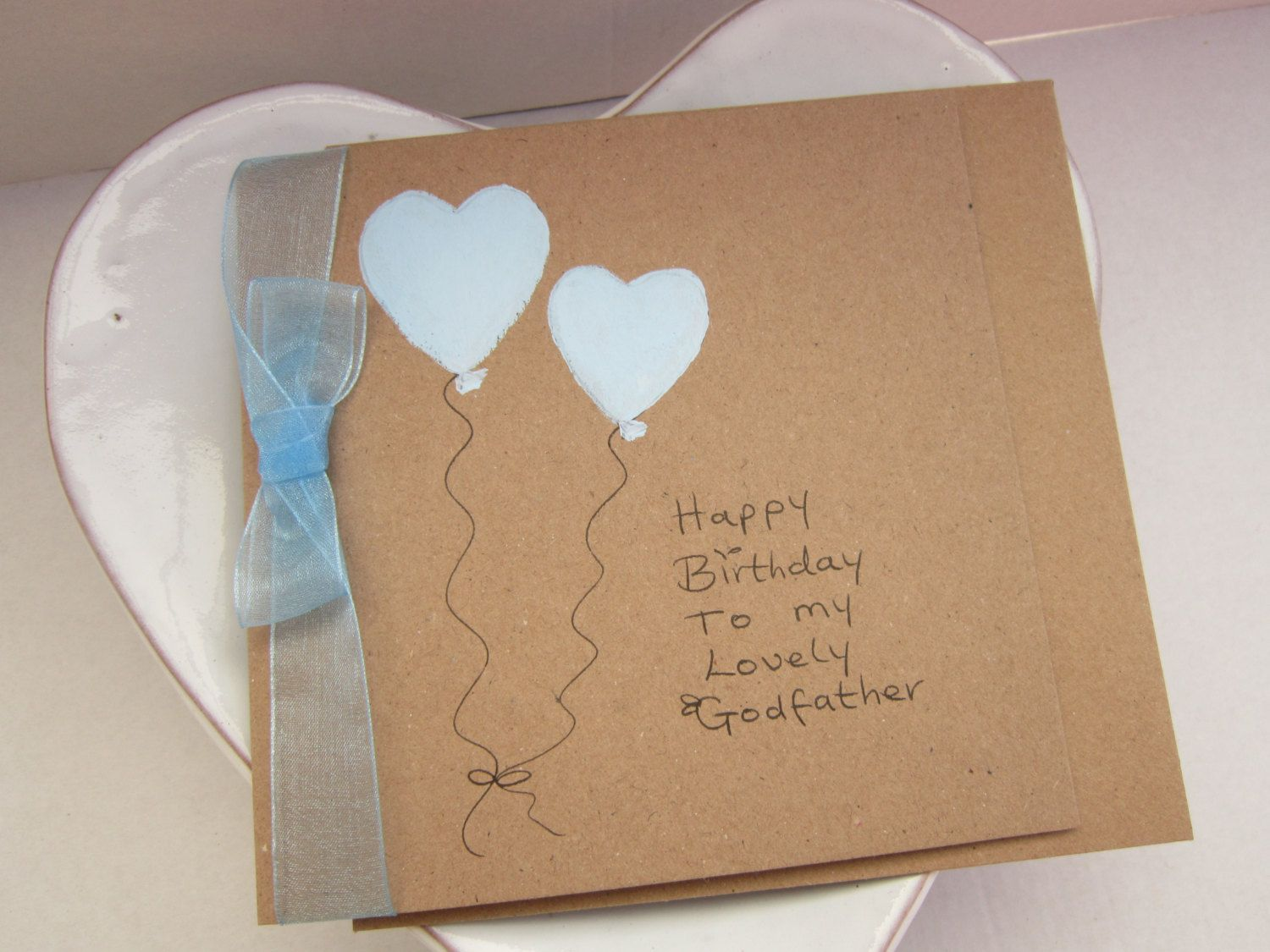 Godfather Card Handpainted Blue Hearts For Birthday Gift Handmad Rustice By