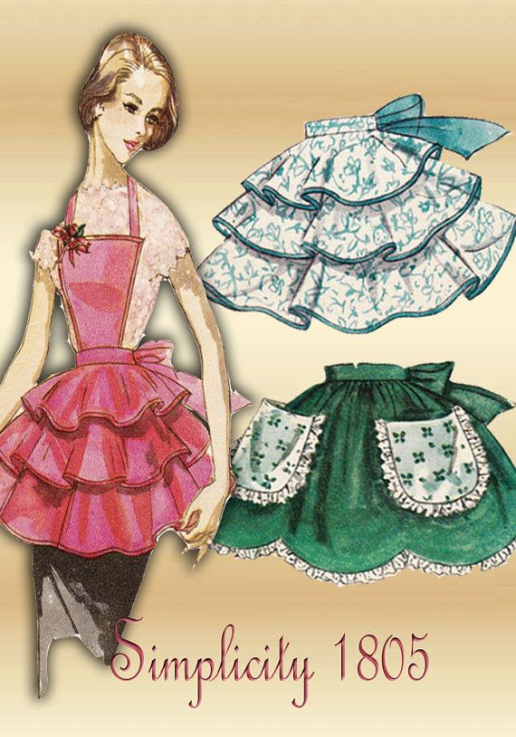 1950s Sewing Pattern Simplicity 1805 Special Occasion Hostess Apron with Variations of Styles