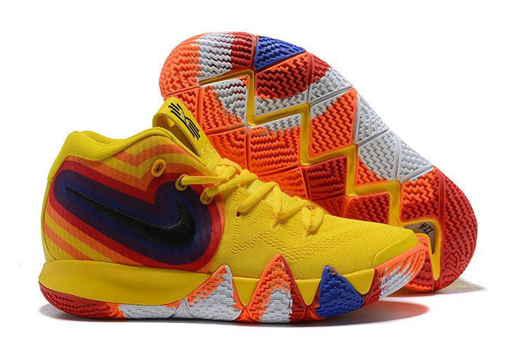 the latest 14e00 4578b Cheap Nike Kyrie 4 Irving Basketball Shoes Yellow White ...