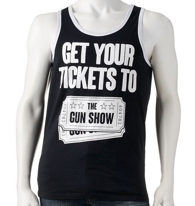 ec2aa652ae Get Your Tickets To The Gun Show Mens Black White Tank Top Funny TShirt NEW