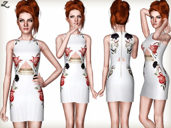 #sims3 | zodapop's Floral Embroidery Embellished Cutout Dress