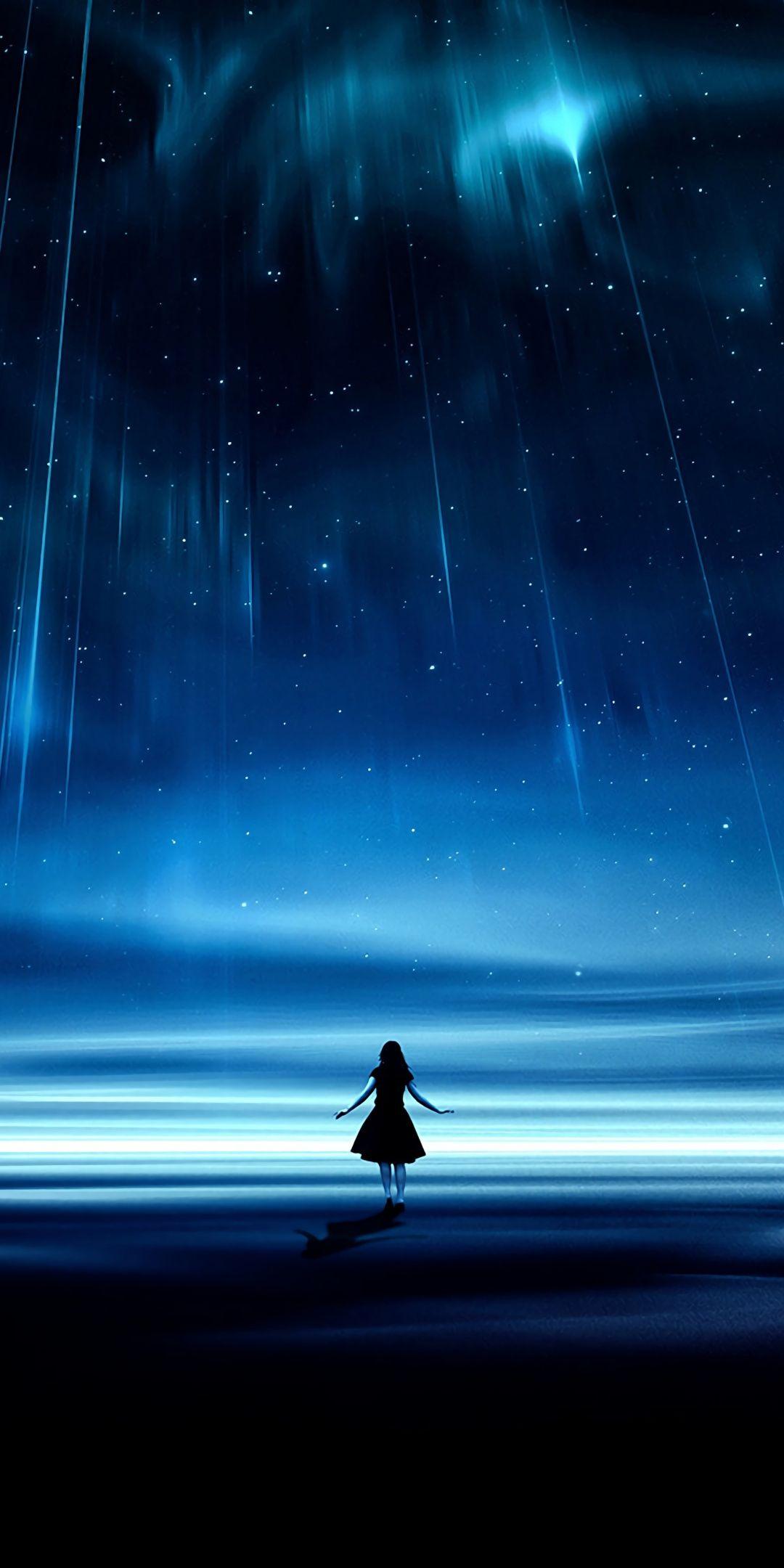 Silhouette Starry Sky Landscape Lights Art 1080x2160 Wallpaper Anime Scenery Night Scenery Anime Scenery Wallpaper