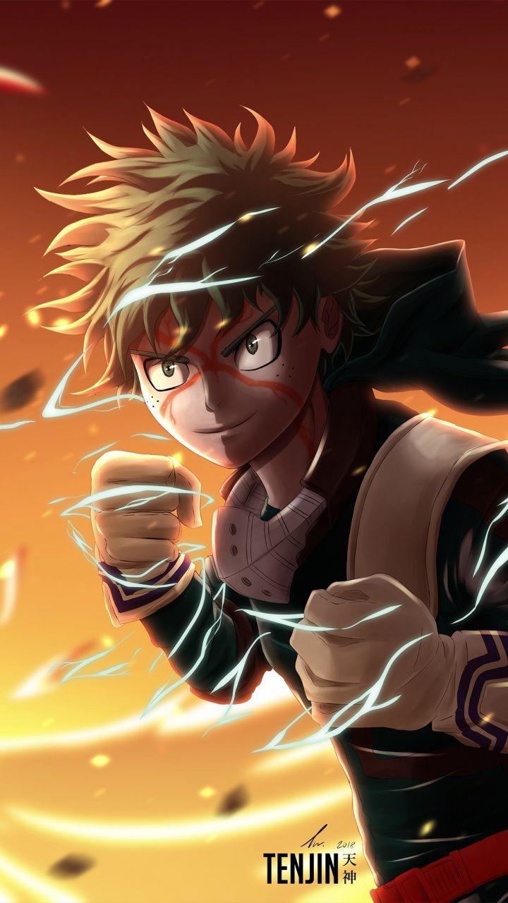 Artwork, warrior, Izuku Midoriya, anime, 720x1280