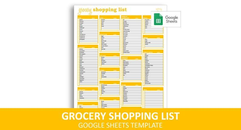 Grocery Shopping List Google Sheets Template Printable Etsy In 2021 Grocery Shopping List Template Shopping List Grocery Shopping List Template