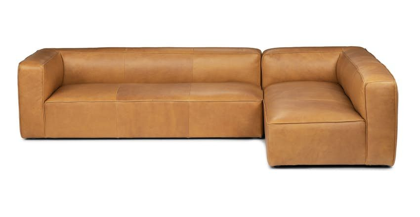 Mello Taos Tan Right Arm Corner Sectional With Images Modern Leather Sectional Sofas