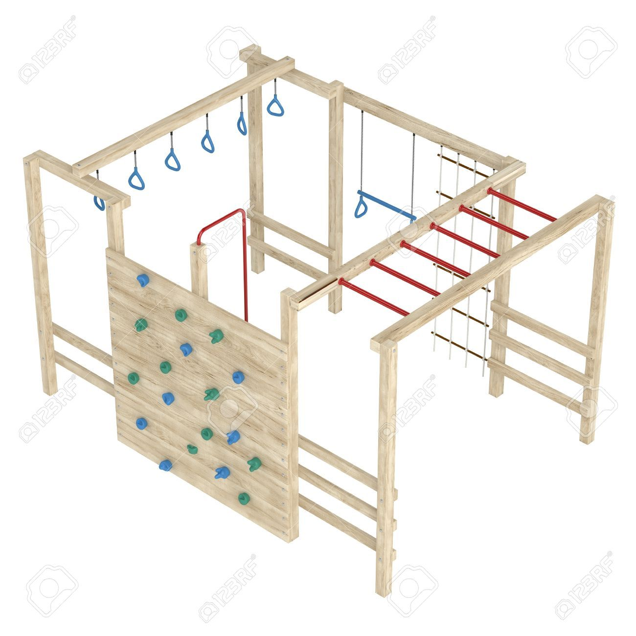 Wooden jungle gym or climbing frame with handholds, footholds ...