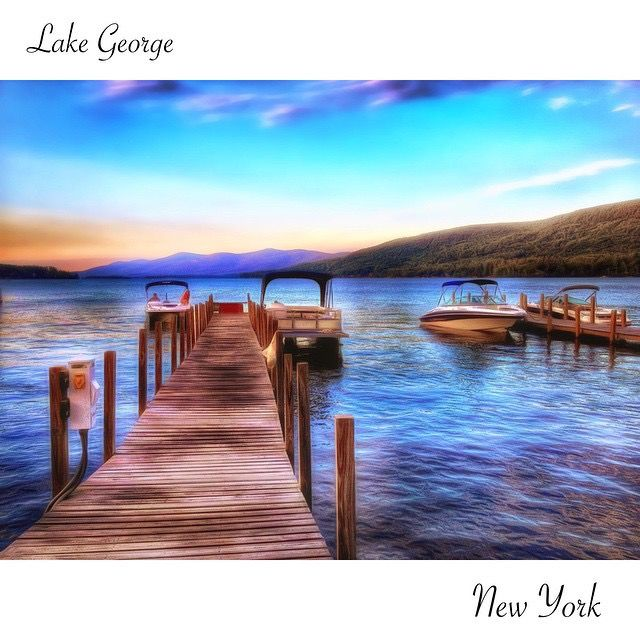 Lake George New York As Seen From Beach Road In Village This Is An Iphone Digital Painting Of The Queen American Lakes