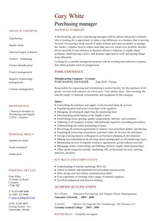 Stylish Procurement Cv Template Majestic Purchasing Manager CV