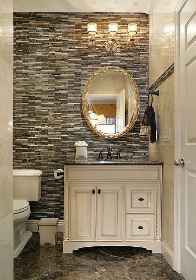 Small Powder Room With Marble Tiles And Mosaics Powder Room