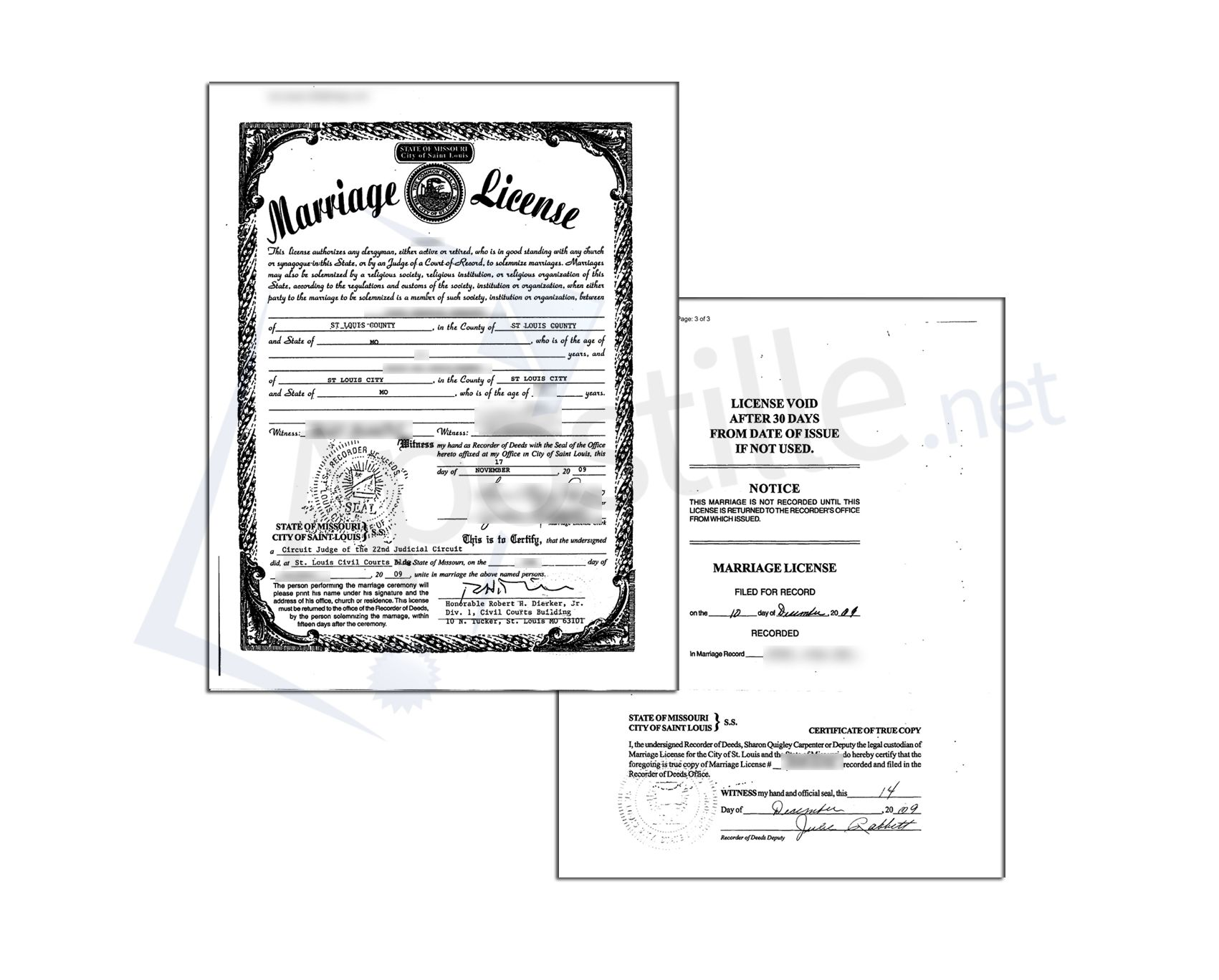 Saint Louis County State Of Missouri Marriagge License Sealed By