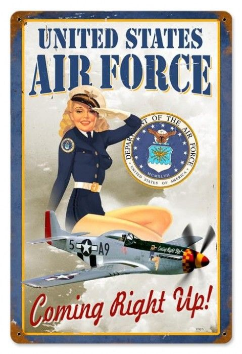 Retro us air force girl pin up girl metal sign 18 x 12 for Decor 6 air force