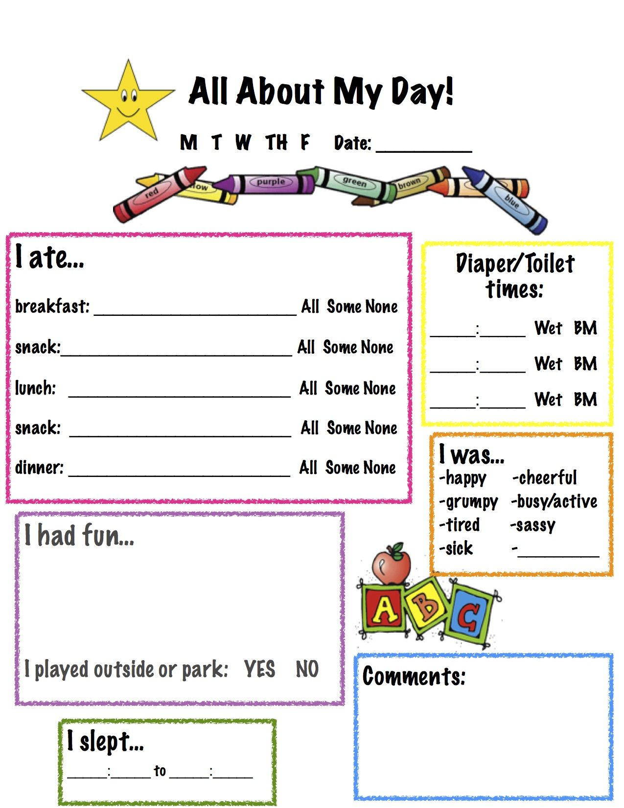 All About My Day Toddler Report Sheet For Nanny I