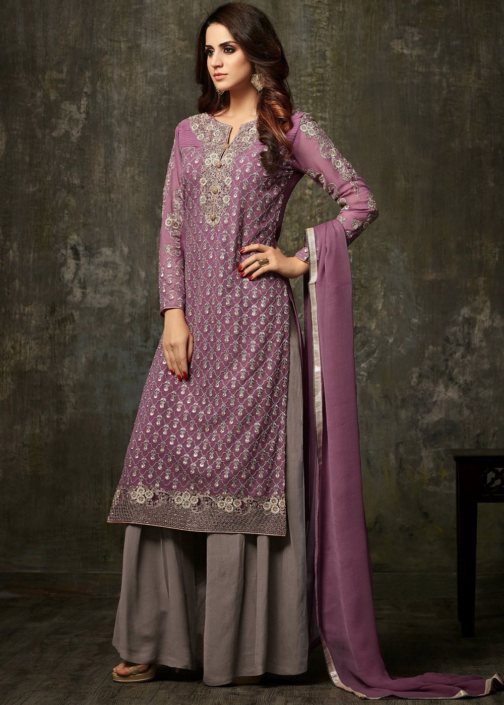 2dec4966c3 Panash Salwar Kameez - Buy Light Purple Embroidered Palazzo Suit with  Dupatta online, Work: