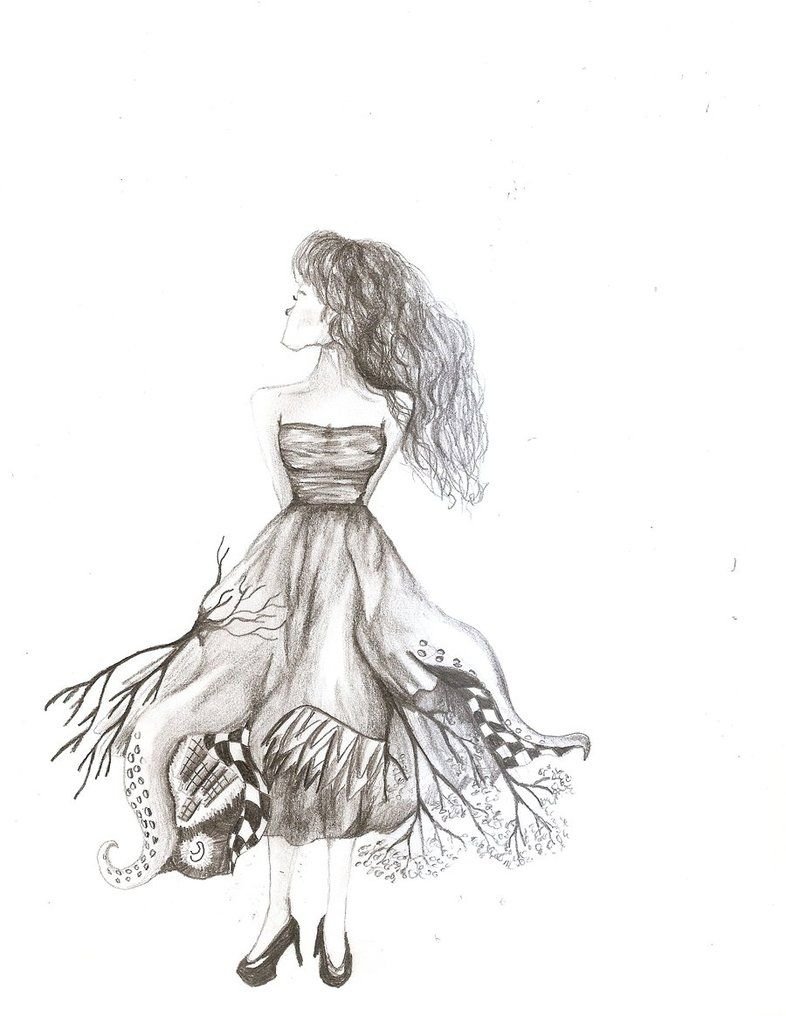 drawing of a girl in a dress tumblr google search