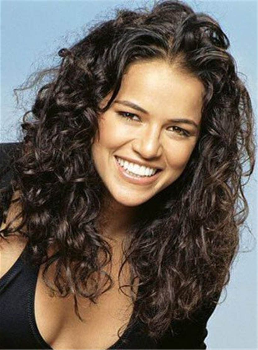 Michelle Rodriguez Messy Curly Medium Human Hair Lace Front Cap Wigs