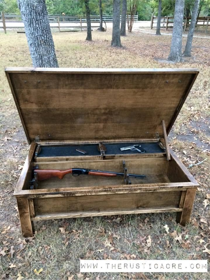 the rustic acre solid wood hidden gun storage with lock feature rh pinterest ca
