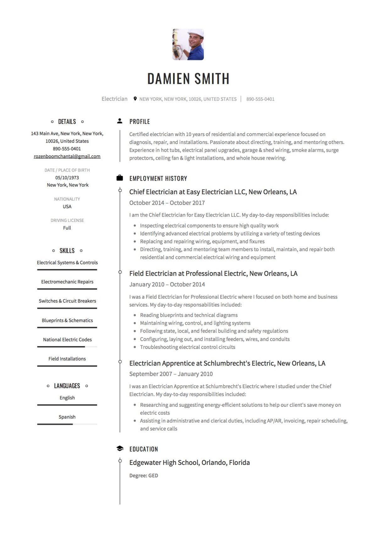 guide electrician resume samples [+ 12 examples hard skills list cv format for marketing job entry level biomedical engineering
