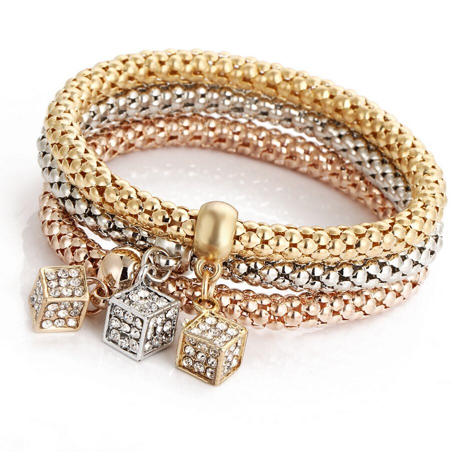 fashion elastic crystal square bracelets women snake chain