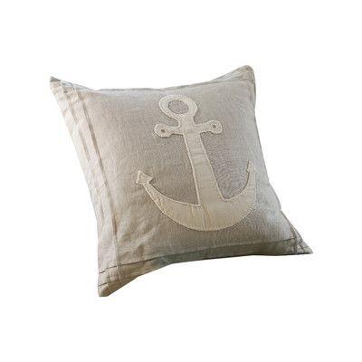 Taylor Linens Natural Anchor Linen Throw Pillow
