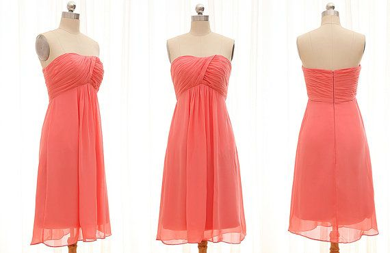 Coral Short Bridesmaid Dress short Prom Dress by LisaTopDesign