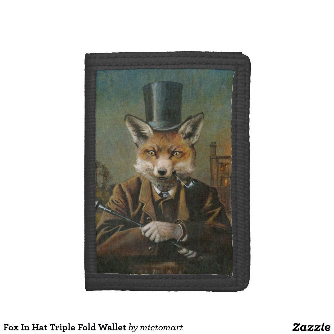 Fox In Hat Triple Fold Wallet