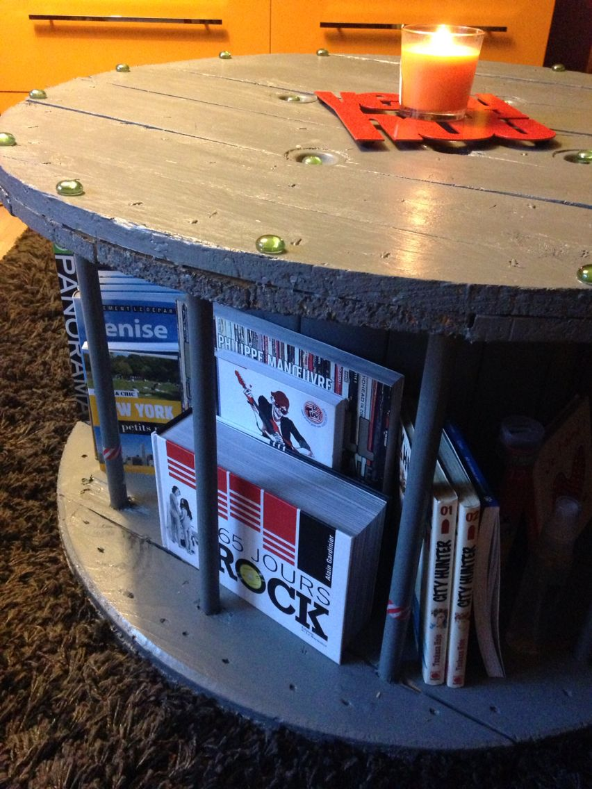 Table Basse Bibliotheque Diy Grace A Un Touret De Cable