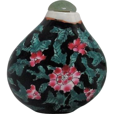 Ceramic Snuff Bottle with Green Jade Stopper Hand Painted Flowers on from somethingwonderful on Ruby Lane