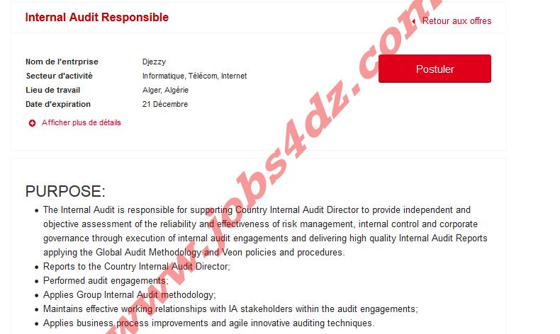 اعلان توظيف بشركة جازي Djezzy اكتوبر 2020 Internal Audit Supportive No Response