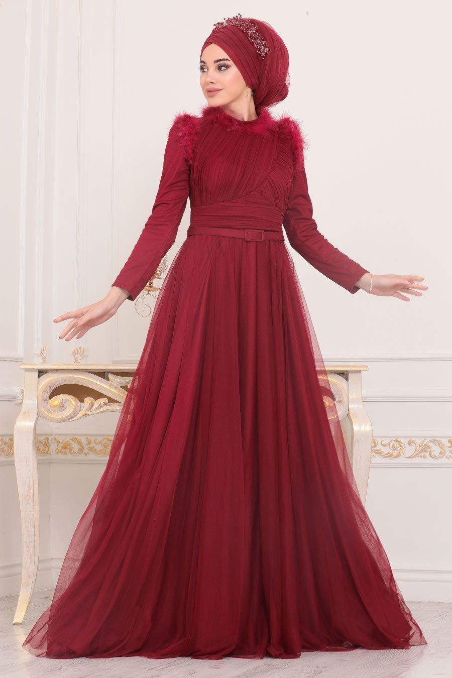 Tesetturlu Abiye Elbise Puskul Detayli Bordo Tesettur Abiye Elbise 39890br Tesetturisland Com 2020 Elbise The Dress Moda Stilleri