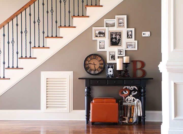 Photo gallery wall under the stairs house tour - Photo decoration on wall ...