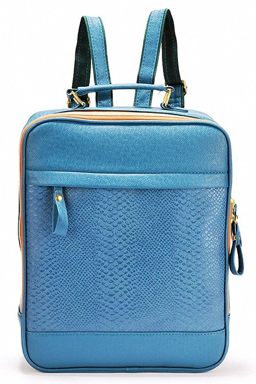 Blue Backpack With Zip Detail