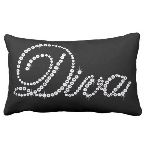 Bling White Diamond Diva On Black Lumbar Pillow Decorative Simple Bling Decorative Pillows