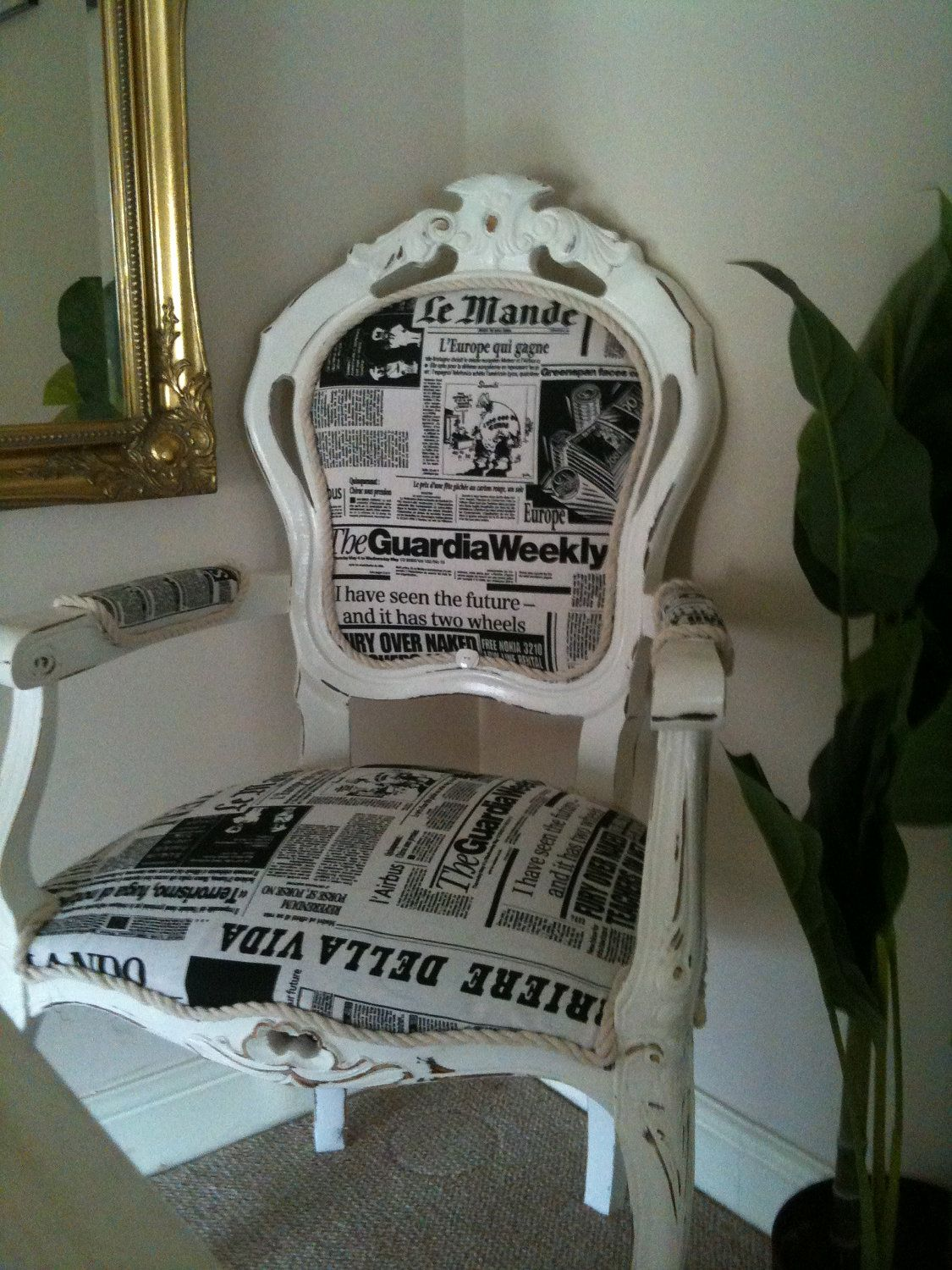 Refurbished Newspaper print retro worn distressed chair white & black. $314.00, via Etsy.