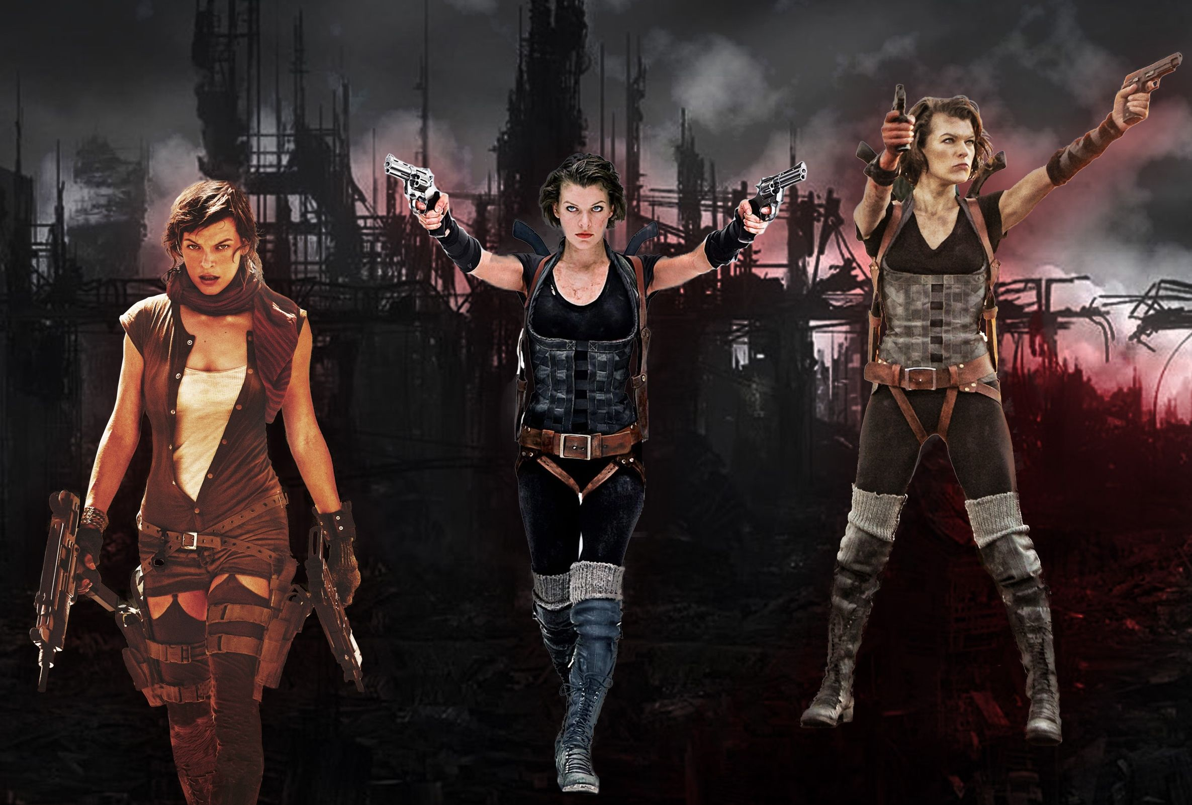 Alice's outfits from Resident Evil: Extinction and Afterlife