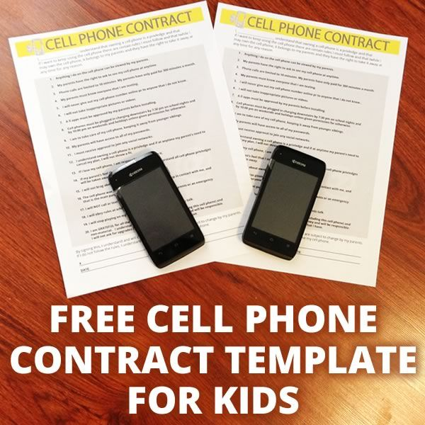 Cell Phone Contract and Creating Cell Phone Rules for Kids Free - free printable contracts