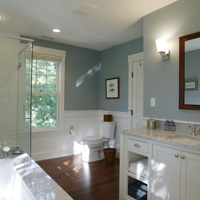 Subway Tile And Wood Floor Bathroom Like White