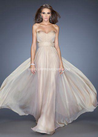 Nude Long Strapless Sweetheart Dress La Femme 20140