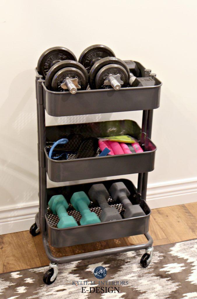 Mini home gym storage ideas for weights, Ikea hack Raskog unit. Kylie M E-design