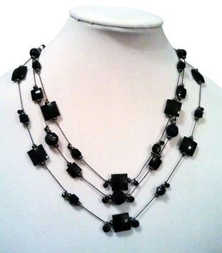 Mixit Triple-Strand Jet Black Bead Necklace QKwNyIKF