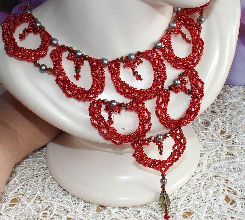Handmade elegant scalloped lace glass beaded necklace vintage decorative Jewelry