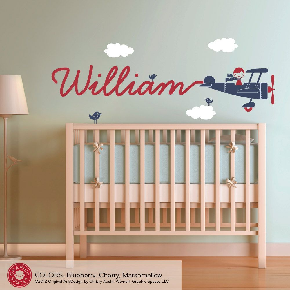 Airplane name wall decal boy skywriter for baby nursery for Baby mural ideas
