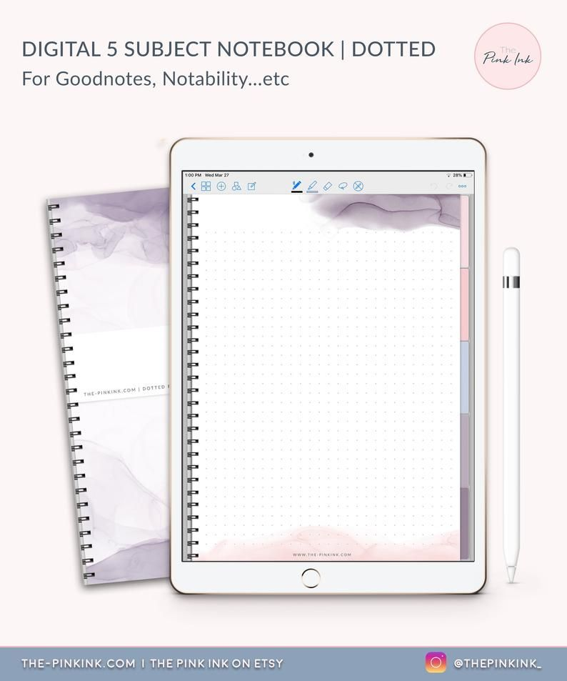 Dotted Digital Notebook Template For Goodnotes App On Ipad Digital Notebook Hyperlink Goodnotes Template Digital Notebooks Notebook Templates Digital Planner