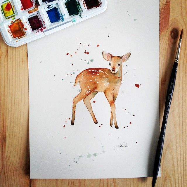 """""""Watercolor fawn, by Katrina Pete #watercolor #katrinapete #artist #instaartist #watercolorpainting #painting #art #etsy #etsyfinds #hamdmade #fawn #deer #animals #babyanimals #nursery"""" Photo taken by @thedailywatercolor on Instagram, pinned via the InstaPin iOS App! http://www.instapinapp.com (03/22/2015)"""